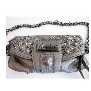 Marciano Pewter Faux Leather Crossbody Purse